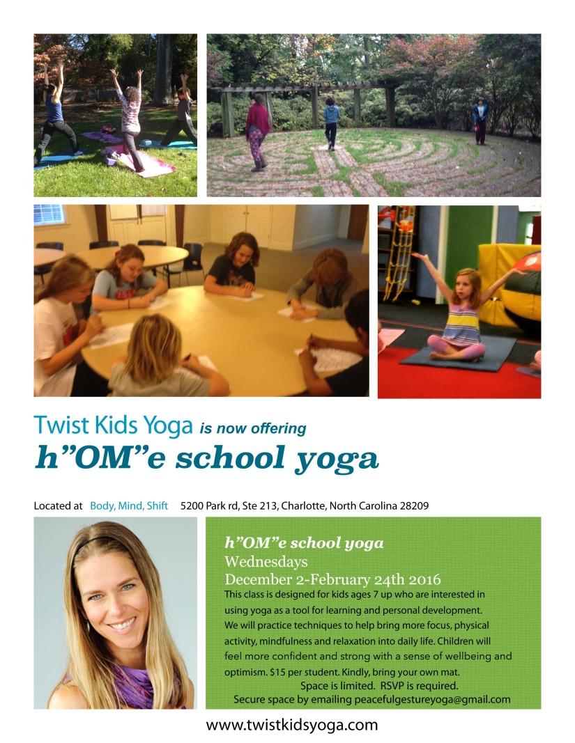 flyer for home school yoga winter